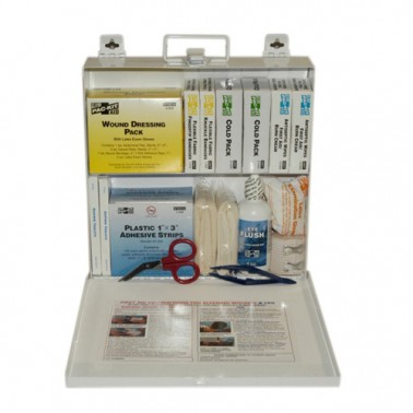 Pac-Kit 6120 165 Piece #50 ANSI Plus Steel Case First Aid Kit with Wall Mount