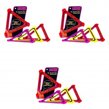 Aerobie Orbiter Boomerang Flies out about 90', Set of 3 (Color May Vary)
