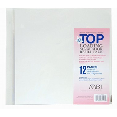 MCS MBI 12x12 Inch Scrapbook Expansion Page Refills, 6 Count (899676) (2-Pack)