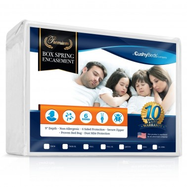 """Premium Box Spring Encasement Zippered Cover by CushyBeds - Bed Bug, Dust Mites & Allergy Proof - 100% Waterproof, Hypoallergenic, 6-Sided Protection - Twin XL Size - (Fitted 7-9"""" Depth)"""