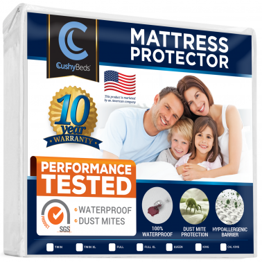 "Premium Mattress Protector Cover by CushyBeds - Lab Tested 100% Waterproof, Hypoallergenic, Breathable Cool Flow, Noiseless, No Crinkling, Allergy & Vinyl Free - Twin Size Bed (Up to 18"" Deep Pocket)"