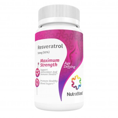 NutraBlast Resveratrol 50Mg Extract - Supports Anti-Aging, Cardiovascular System, Immune System, and Antioxidant - Made in USA (60 Capsules)