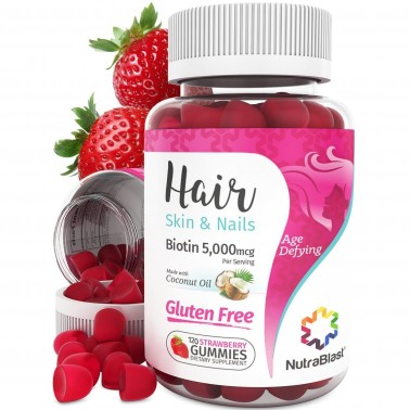 NutraBlast Hair Vitamins Biotin 5000Mcg - Gluten Free - Supports Energy Production, Hair, Skin, and Strong Nails - Made in USA (120 Strawberry Gummies)