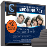 Premium Bed Sheet Set by CushyBeds - Brushed Microfiber 1800 Bedding - Hypoallergenic, Wrinkle, Fade, Stain Resistant - 6 Pieces Includes 2 BONUS Pillow Case (King, Gray)