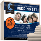 Premium Bed Sheet Set by CushyBeds - Brushed Microfiber 1800 Bedding - Hypoallergenic, Wrinkle, Fade, Stain Resistant - 6 Pieces Includes 2 BONUS Pillow Case (King, Ivory)