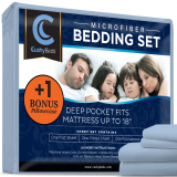Premium Bed Sheet Set by CushyBeds - Brushed Microfiber 1800 Bedding - Hypoallergenic, Wrinkle, Fade, Stain Resistant - 4 Pieces Includes 1 BONUS Pillow Case (Full, Light Blue)