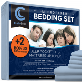 Premium Bed Sheet Set by CushyBeds - Brushed Microfiber 1800 Bedding - Hypoallergenic, Wrinkle, Fade, Stain Resistant - 6 Pieces Includes 2 BONUS Pillow Case (King, Light Blue)