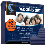 Premium Bed Sheet Set by CushyBeds - Brushed Microfiber 1800 Bedding - Hypoallergenic, Wrinkle, Fade, Stain Resistant - 6 Pieces Includes 2 BONUS Pillow Case (King, Navy Blue)