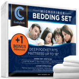 Premium Bed Sheet Set by CushyBeds - Brushed Microfiber 1800 Bedding - Hypoallergenic, Wrinkle, Fade, Stain Resistant - 4 Pieces Includes 1 BONUS Pillow Case (Full, White)